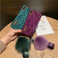 Chic Purple Phone Case for Apple iPhone with Fuzzy Furry Plush Ball and Strap