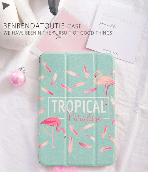 Tropical Flamingo & Flower Print iPad Cover Case gallery 2