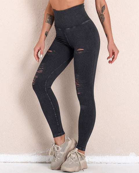 Seamless Hollow Out Butt Lifting Sports Leggings