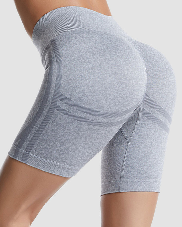 Ribbed Absorbs Sweat High Waist Sports Shorts gallery 1