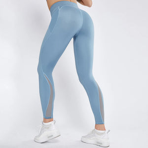 High Waist Contrast Mesh Side Pocket Leggings