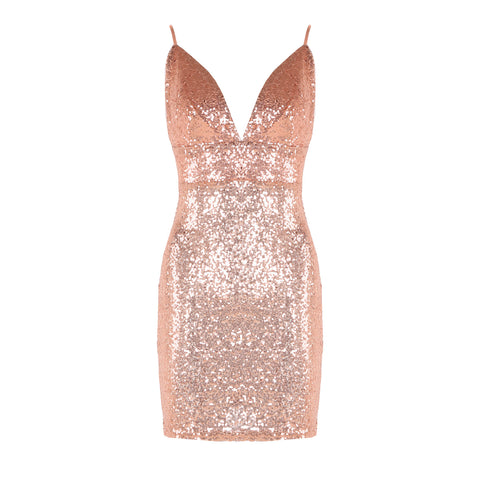 Sexy Low Cut Glitter Sequin Strappy Bodycon Dress gallery 9