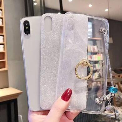 Solid Color iPhone Case with Ring & Chain