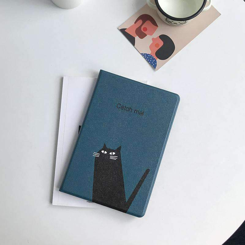 Cute Black Cat Painted Apple iPad Cover Case