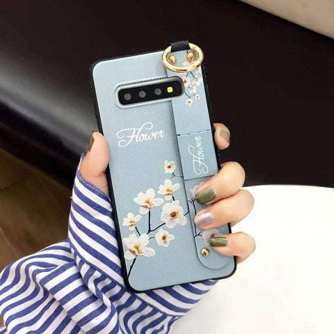 Elegant Floral Phone Case for Samsung with Wrist Strap