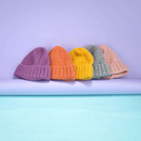 Solid-color Stitch Knit Beanie Hat gallery 11
