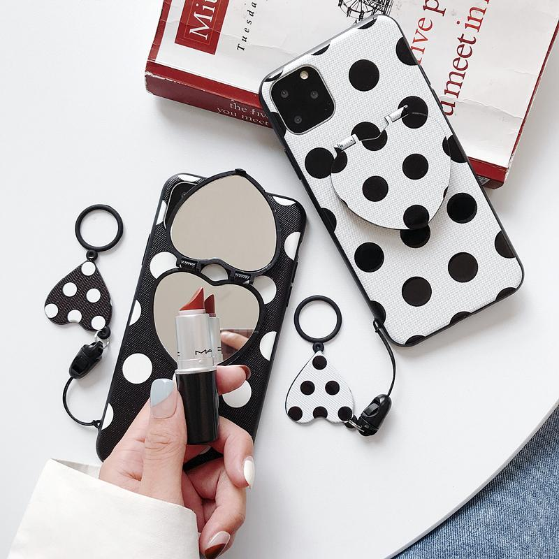 Black&White Pattern iPhone Case with Mirror Phone Holder
