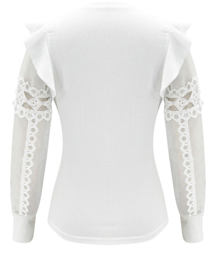 Sheer Sleeve Ribbed Knit Ruffle Trim Sweater gallery 5