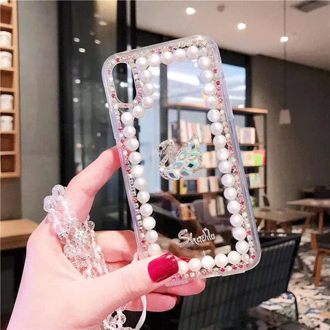 Clear Transparent Pearl Trim Deco Phone Case for Samsung with Hand Strap gallery 7