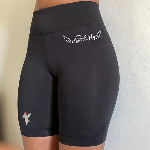 Angel Graphic Embroidered Wide Waistband Shorts gallery 4