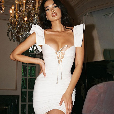 Sexy White Tie Front Detail Ruched V-neck Mini Dress gallery 1