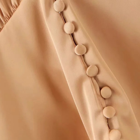 Satin V-neck Button Front Ruched Ruffle Trim Blouse gallery 6
