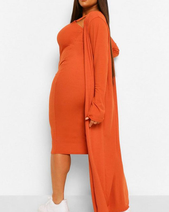 Solid Square Neck Dress & Cardigan Set gallery 11