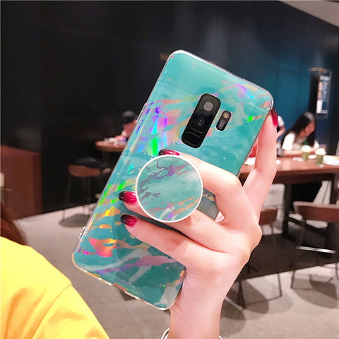 Marble Design Ceramic Pattern Super Slim Cover Jade Image Shell Phone Case for Samsung with Phone Holder gallery 9