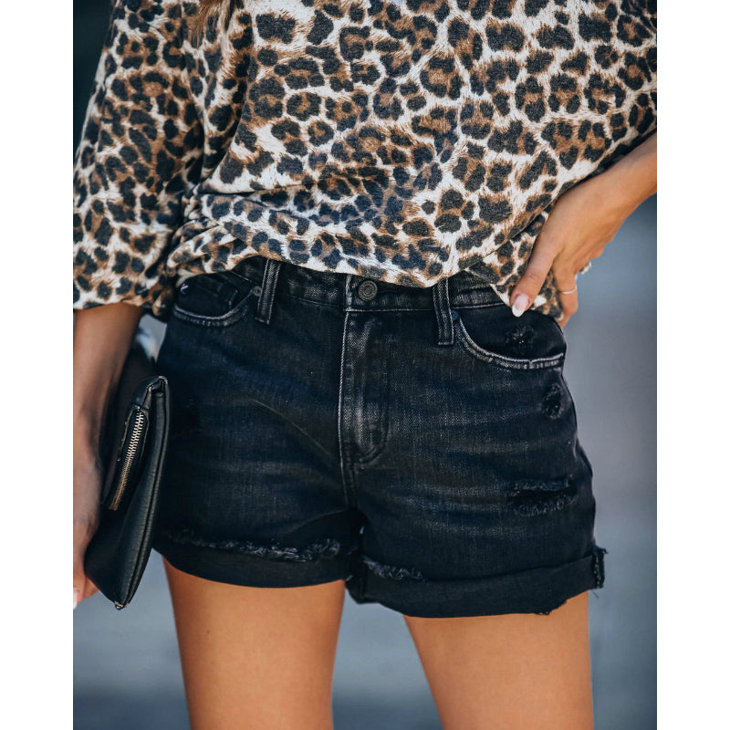 Vintage Roll Up Hem Ripped Shorts