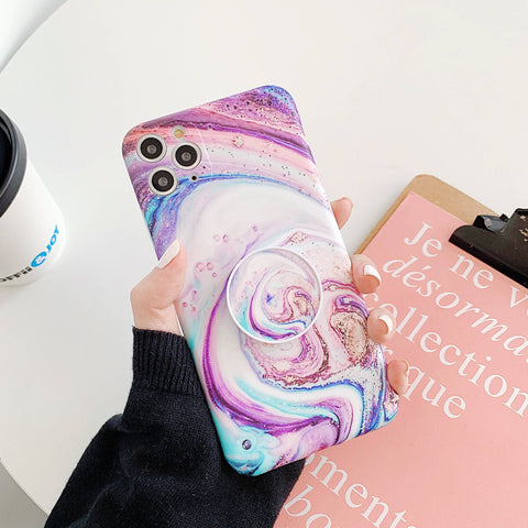 Glittering Cosmic Swirl Marble iPhone Case with Phone Holder