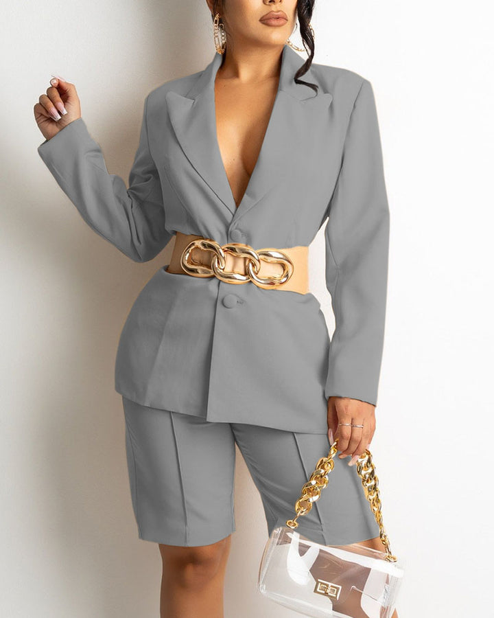 Solid Button Front Blazer & Shorts Set Without Belt gallery 2