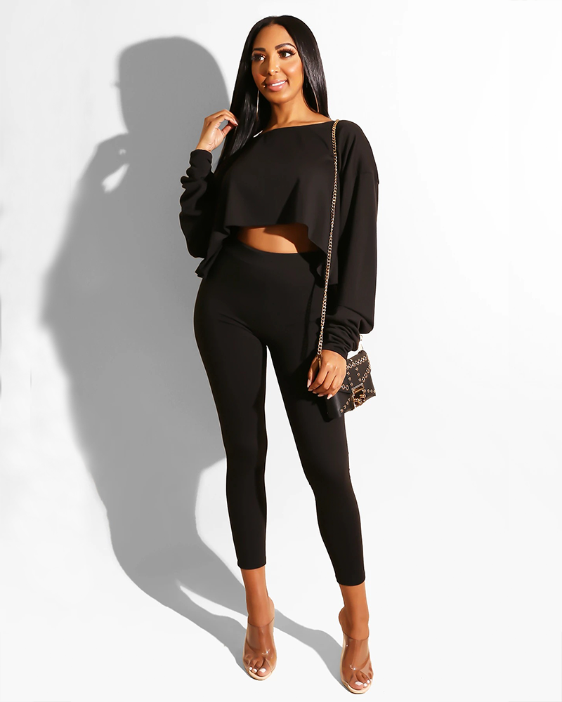 One Shoulder Frill Hem Cropped Top & Pant Set