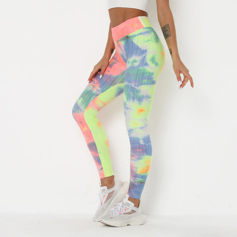 Watercolor Tie Dye Textured Butt Lifting Ruched Leggings gallery 7