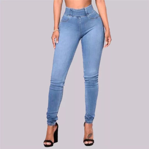 Solid Wide Waistband Skinny Jeans