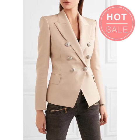 Basic Colors Double Breasted Gold Button Blazer