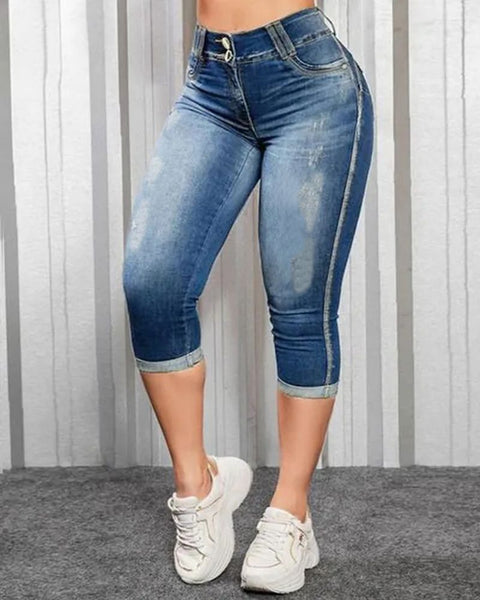Ripped Roll Up Hem Capris Jeans gallery 7