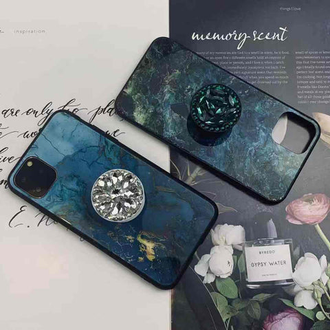 Marble Crack Phone Cases With Rhinestone Ring Stand For All iPhone