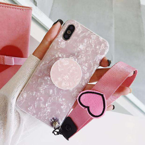 Marble Stone Pattern Phone Case for Samsung with Phone Holder and Strap gallery 3