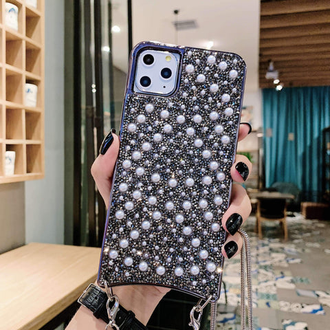 Sparkle Crystal Pearl Stud Phone Case for Samsung with Hand Strap gallery 10