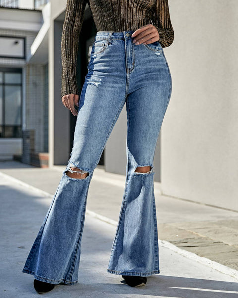 Contrast Knee Ripped Flare Jeans