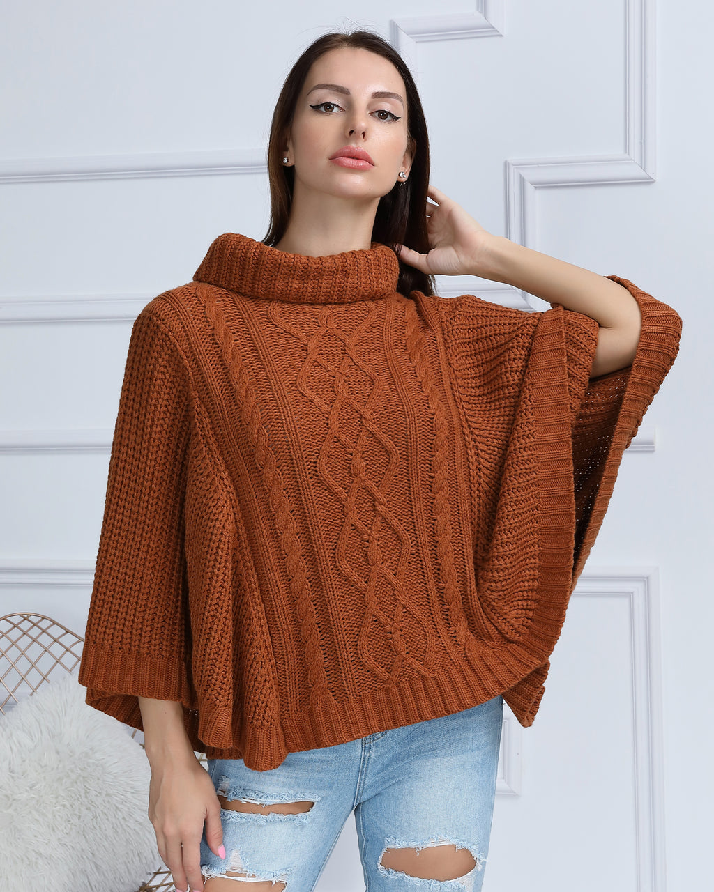 Cable Knit Turtleneck Cape Sweater