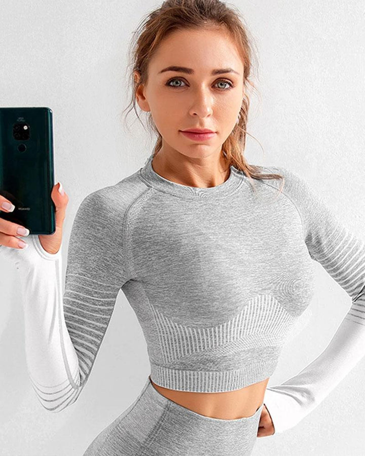 Seamless Striped Crop Sports Top with Thumb Holes gallery 1