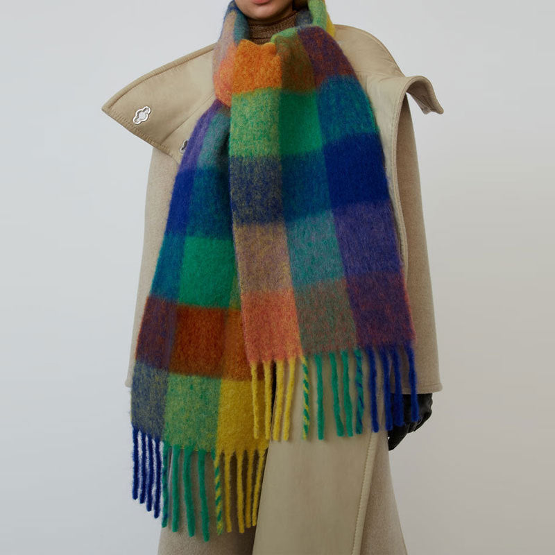 Vintage Winter Women Tassels Mixed Color Plaid Oversized Cape Scarf