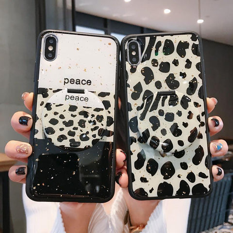 Black&White Leopard Pattern iPhone Case with Mirror Phone Holder