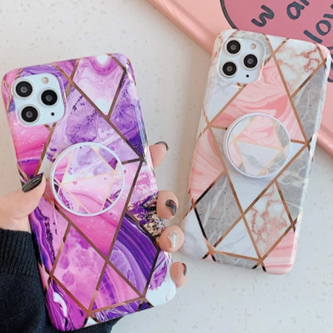 Rhombus Stitching Marble Phone Case for Samsung with Phone Holder gallery 1