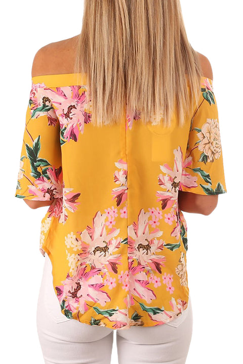 Yellow Floral Print Half Sleeve Off Shoulder Blouse gallery 2