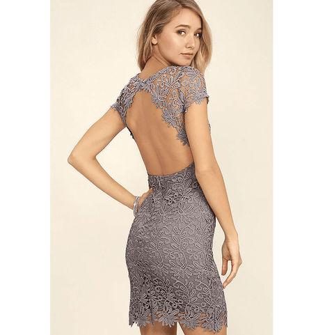 4 Colors Round Neck Lace Detail Backless Skinny Dress