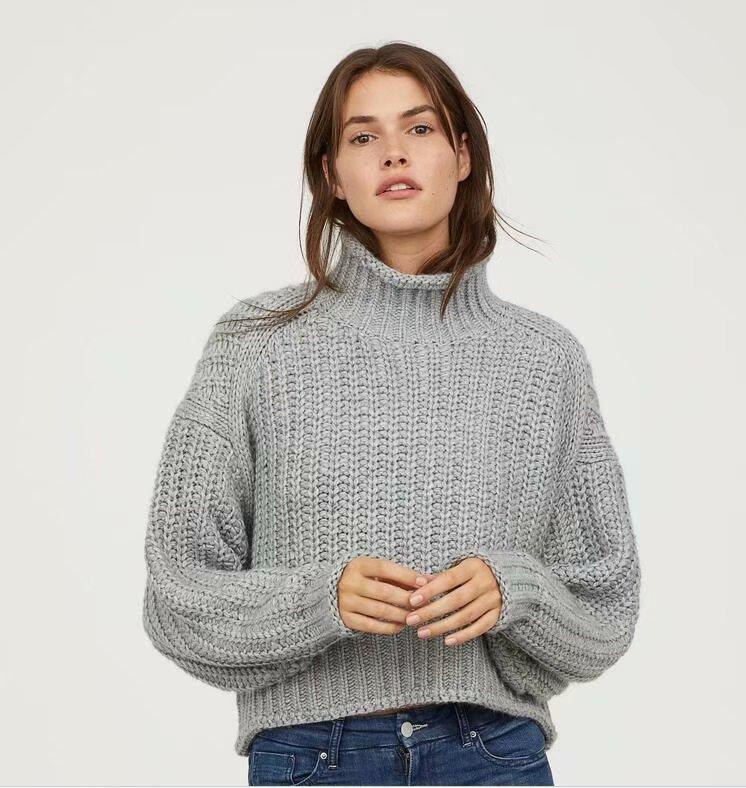 Chunky High Neck Fisherman Drop Shoulder Sweater