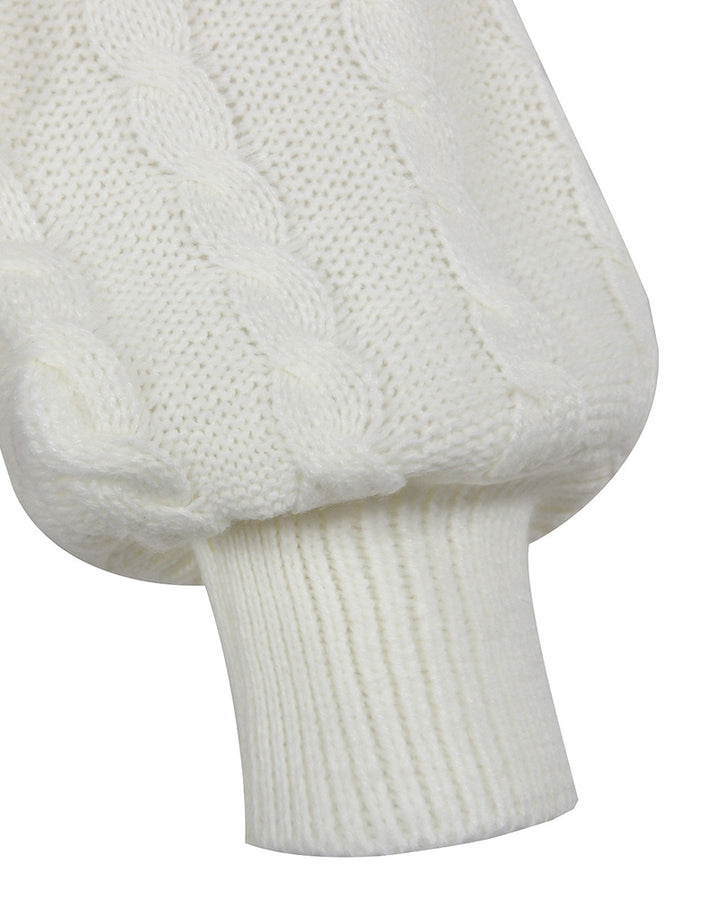 Solid Cable Knit Surplice Self-Tie Sweater gallery 6