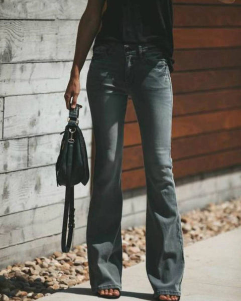 Modern Solid High Waist Flare Jeans