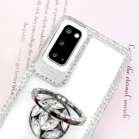 Luxury Crystal Stud Edge Phone Case for Samsung with Phone Holder and Hand Strap gallery 6