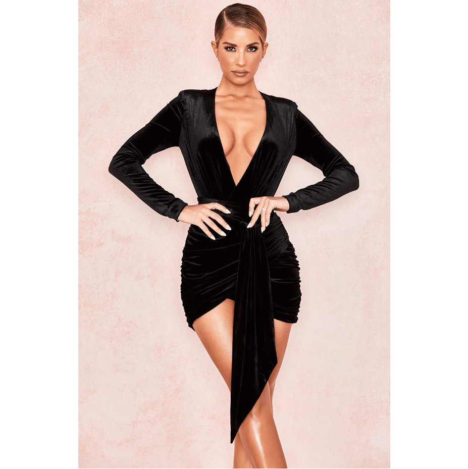 Black Velvet Plunge Waist Wrap Ruched Mini Dress