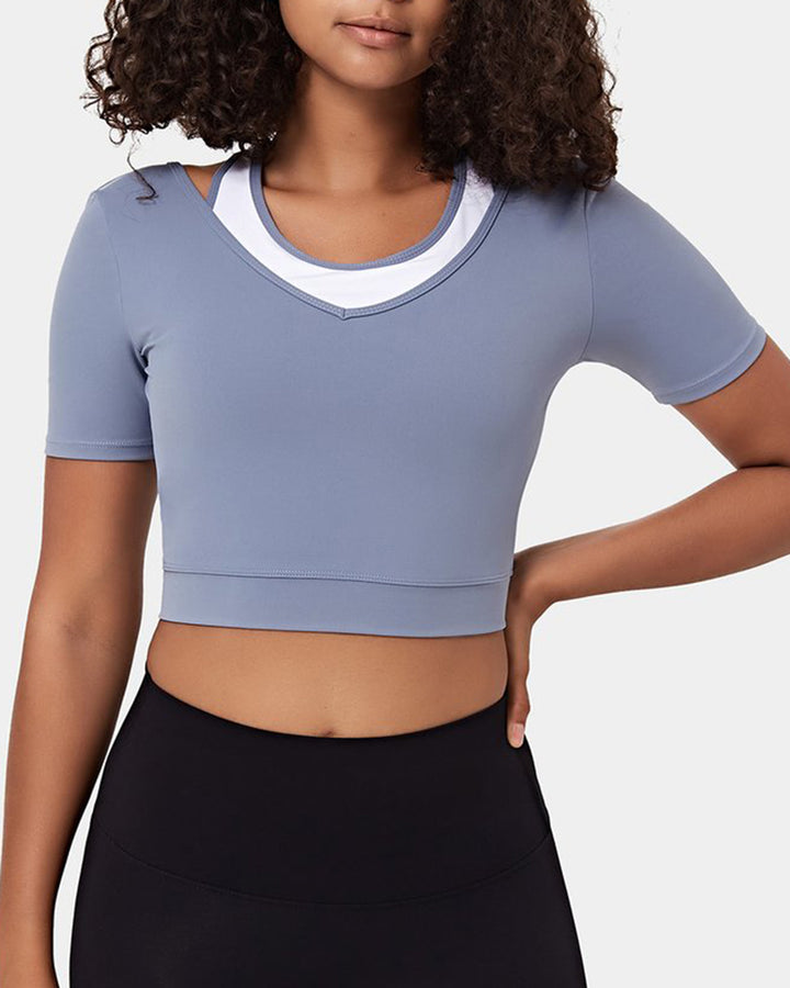 Colorblock Cut Out Bodycon Crop Sports Top gallery 5