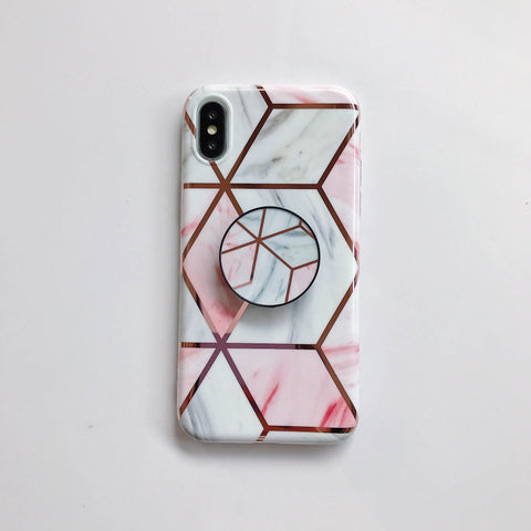 Rhombus Electroplate Marble Phone Case for Samsung with Phone Holder gallery 9