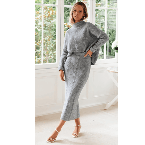 High Neck Cable Knit Split Hem Top & Skirt Set