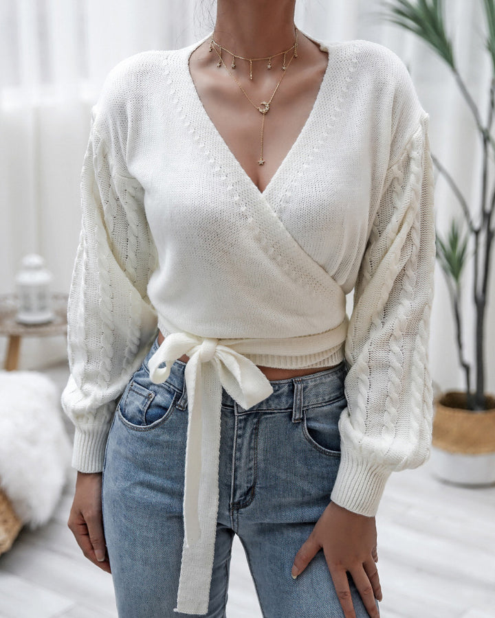 Solid Cable Knit Surplice Self-Tie Sweater gallery 1