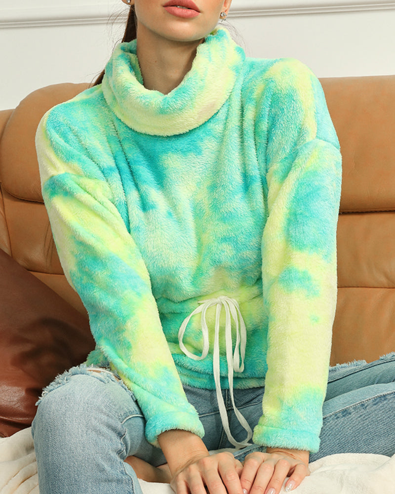 Tie Dye Drawstring Turtleneck Teddy Sweatshirt