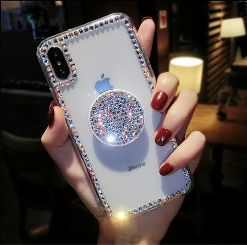 Luxury Small Rhinestone Trim Transparent Phone Case for Samsung with Phone Holder gallery 3