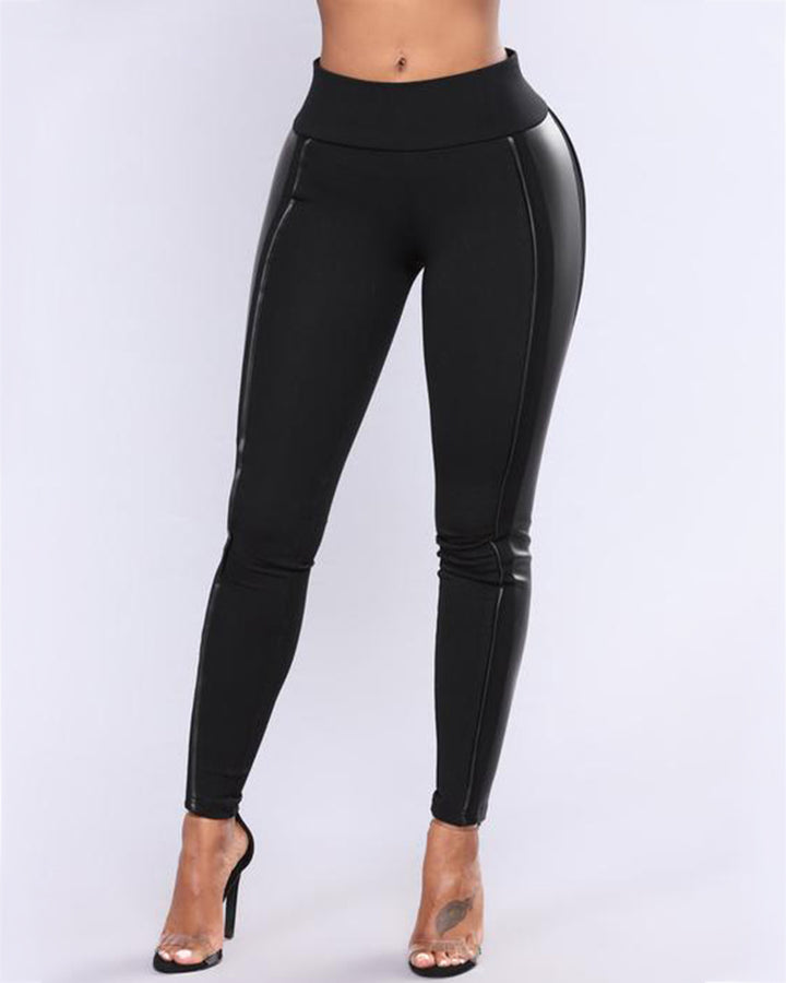 Mid Waist PU Leather Patched Skinny Pants gallery 1