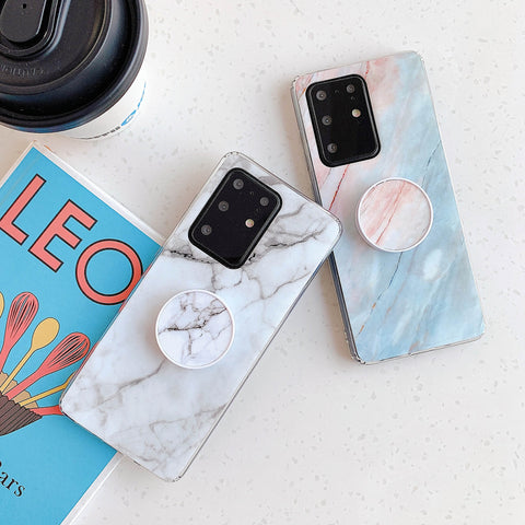 Smooth Marble Crack Detail Phone Case with Phone Holder gallery 1